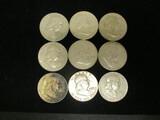Lot of (9) Franklin Half Dollars