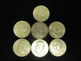 Lot of (7) Franklin Half Dollars