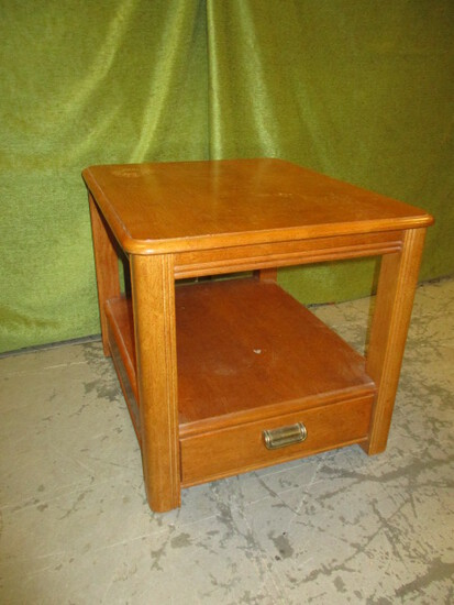 Oak End Table w/Drawer By Broyhill