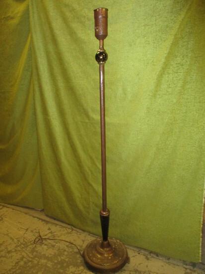 Vintage Floor Lamp Possible Gold Leaf - Chip in Glass Ball & Base