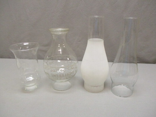4 Glass Oil Lamp Chimneys