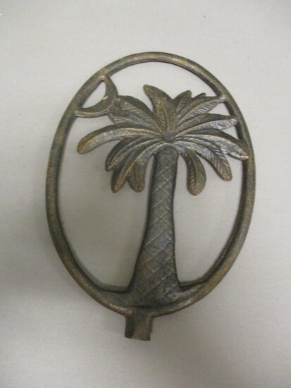 Cast Iron Palm Tree & Crescent Moon Finial - See All Photos