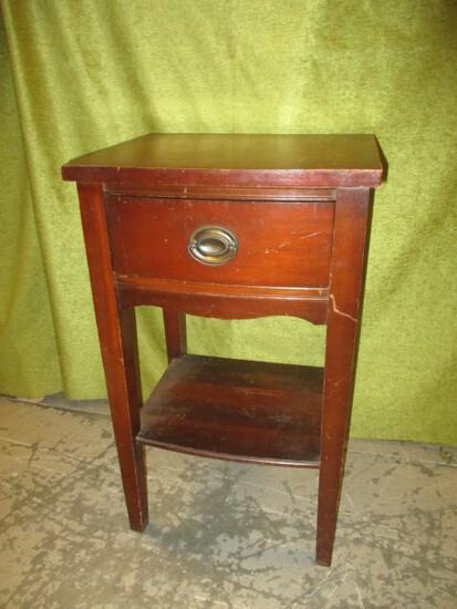 Vintage Night Stand w/Drawer & Under Shelf
