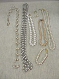 Pearl Necklaces, Bracelet & Pierced Earrings