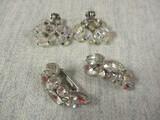 2 Pair Rhinestone Clip On Earrings