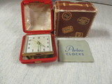 Vtg. Artco No. 1401 Jeweled Travel Alarm Clock in Leather Case
