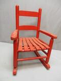 Vtg. Childes Red Wooden Rocking Chair