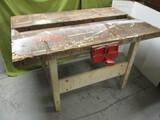 WOW!! Work Table w/Vintage Craftsman Wood Working Vise