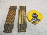 2 Vintage Stick Rulers & One 50ft Tape Measure