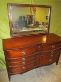 Vintage 6 Drawer Dresser w/Mirror