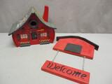 1995 World Series Braves Wooden Bird House & Wooden Welcome Sign