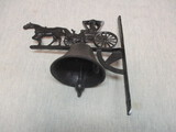 Vintage Wall Mount Cast Iron Dinner Bell w/Horse & Buggy