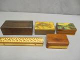 5 Vintage Wooden Boxes