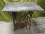Unusual Antique Sewing Machine Base w/Black Marble Top - See All Photos
