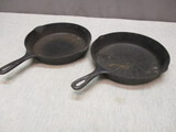 2 Vintage Cast Iron Skillets - See All Photos
