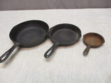 3 Different Size Cast Iron Skillets - See All Photos