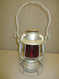 WOW! Beautiful Antique Railroad Lantern w/Red Glass Globe _ See All Photos