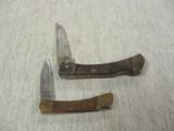 2 Knives w/Locking Blades & Brass Ends