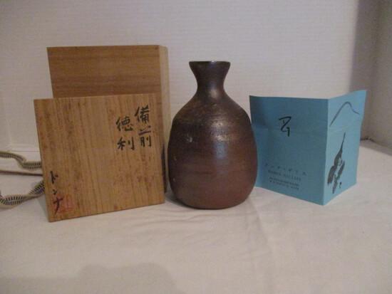 Japanese Bizen Pottery Sake Bottle by Donna Gilliss in Wood Box