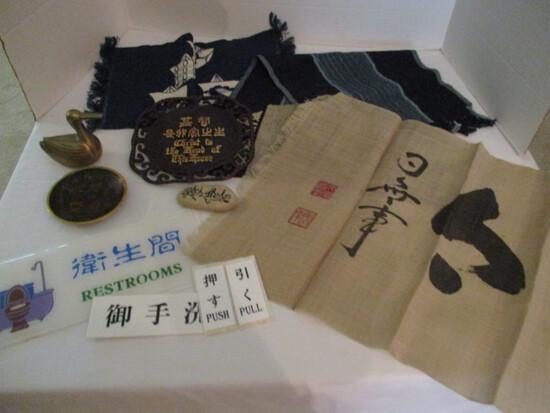Brass Duck, Japanese Batik and Weavings, Cloisonne Dish, Prayer Stone
