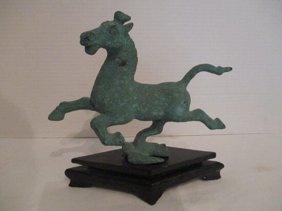 Chinese Bronze Horse Sculpture on Wood Base