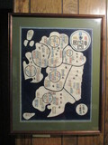 Island of Kyushu Framed and Matted Batik