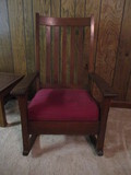 Antique Oak Rocking Chair with Removable Cushion