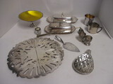 Silverplated Trivet, Cups, Candy Dish, Candle Snuffer, Cordials, Butter Dishes