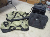 Quicksilver Carry On Suitcase, Forecast Travel Bag, and 2 Overseas Adventure Travel Bags