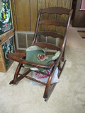 Folding Wood Rocking Chair with Needlepoint for Cushion