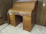 Antique Oak Roll Top Desk with Keys and Hidden Door
