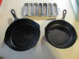 Two Cast Iron Skillets and Aluminum Corn Stick Pan