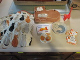 Cat Pattern Bag Holder, Pottery Plaque and Pin Dishes, Ornament, Wood Painted Cat