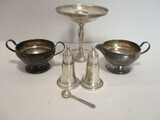 Sterling Silver Weighted Compote, Creamer and Sugar Bowl, and Salt/Pepper Shakers