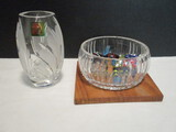 Marquis by Waterford Crystal Vase and Crystal Dish on Wood Base with Art Glass Candy