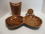 Danish Modern Wood Ice Bucket with Matching Coasters in Stand and Wood Divided Bowl