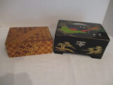 Hand Painted Lacquered Jewelry Box and Wood Parquet Box