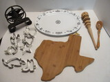 Texas Star Napkin Holder, Texas Platter and Cutting Board, Cookie Cutters, Wood Spoon