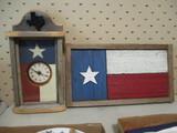 Texas Wood Flag Wall Plaque and Quartz Clock