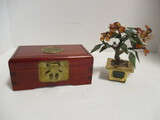 Japanese Jewelry Box and Stone Crafted Plant in Brass Pot