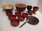 Japanese Pickle Bowls, Wood Bowl with Carved Lid, Pedestal Bowls, Pickle Fork