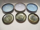 Three Japanese Pottery Bowls and Three Small Plates
