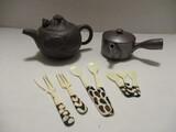 Yixing Clay Dragon Teapot, Japanese Teapot, and Giraffe Bone Forks & Spoons