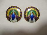 Pair of Enameled Metal Peacock Pins