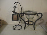 Metal Stand with Glass Insert and Hanging Lantern Votive Holder