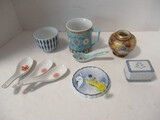 Japanese Tea Cups, Spoons, Chinese Mug, Small Vase, Paperweight