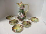 Hand Painted Nippon Chocolate Pot with Two Cups and Five Saucers