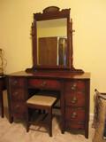 Mahogany Vanity with Mirror and Bench