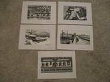 Five Japanese Wood Block Prints by Okuyama