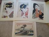 Japanese Unframed Wood Block Prints by Utamaro